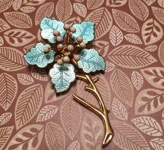 Vintage Blue Enamel Beaded Floral Brooch by VintageGemsAndPurls