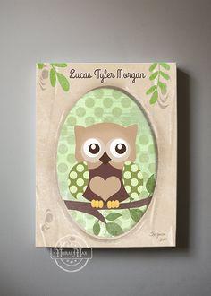 Baby Boy Owl Nursery Decor Brown and Green Owl Canvas Art Nursery Decor - Kids wall art Baby Boy Owl Nursery Art & Nursery Art Owl Print wall art Girls Owl Nursery Art Wood Land ...