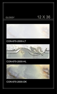 CON_670 - Millennium Tiles 300x900mm (12x36) Digital Ceramic OCT Glossy #WallTiles  - CON_670_2000_LT  - CON_670_2000_HL  - CON_670_2000_DK - HD Technology: High-definition technology (HDT) provides a resolution that is substantially higher that of standard-definition tiles. - Digital Technology: For details, Digital printing technology in ceramic tiles enables us to print anything and everything onto the tiles with unlimited & everlasting colours. Feel effect with punches, grooves…