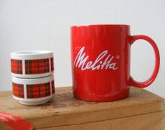 Red Ceramic Melitta Mug Big Handle