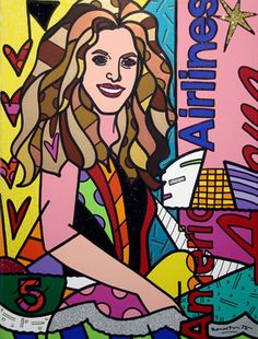 "Romero Britto's ""Shakira"" 2007, 48"" x 36"" Acrylic on Canvas. Learn more about Romero Britto and Florida (The Sunshine State) at: www.floridanest.com"