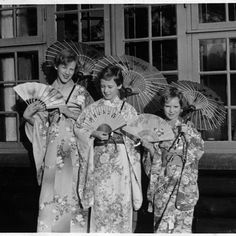 Christmas presents from the East. The three sisters, Princess Margrethe, Princess Benedikte and Princess Anne-Marie, in their Japanese costumes, that were Christmas presents from Mrs. Rostock-Jensen in 1952 Anne Maria, Kingdom Of Denmark, Maria Feodorovna, Prince Frederick, Danish Royalty, Japanese Costume, Casa Real, Danish Royal Family, Princess Anne