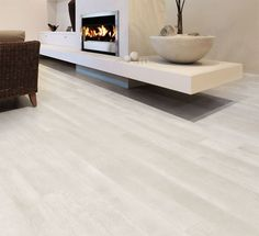 Rovere white High-Tech Woods, floor tiles and white wood effect finishes for interior and exterior. Home Living, Living Room Modern, Living Room Decor, Hotel Room Design, Basement Inspiration, Modern Flooring, Living Room Flooring, Living Room With Fireplace, Fireplace Design