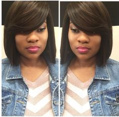 Full sew in with no leave out no closure sew in weave install sew in bob hairstyles - Bob Hairstyles Short Sew In Hairstyles, Quick Weave Hairstyles, African Braids Hairstyles, Protective Hairstyles, Summer Hairstyles, Protective Styles, Braided Hairstyles, Sew In With Bangs, Bob Sew In