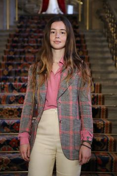 Flo Morrissey in a checked wool jacket and silk shirt from Gucci Spring Summer 2017, at the opening event of Chatsworth House Style. The exhibition runs from March 25 to October 22, 2017.