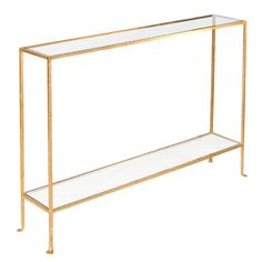Worlds Away Woodard Skinny Gold Leaf Console - love this for behind the couch, I think it's thin enough!