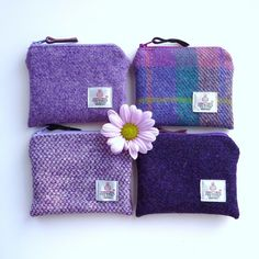 Handmade small Harris Tweed jade and purple coin purses. Small and soft but big enough to carry keys, change and credit card so perfect for taking to the gym.