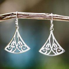 Sterling silver dangle earrings, 'Cuernavaca Lotus' - Artisan Crafted Women's Floral Sterling Silver Earrings