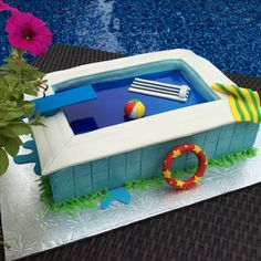 Life is better by the pool. ! Swimming pool cake !
