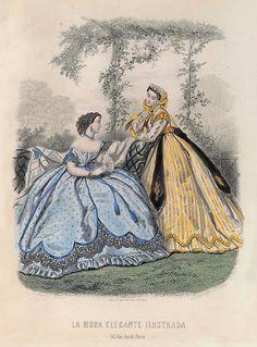 decimonono:   1865. La moda elegante ilustrada. 23 de julio, nº 30. Traje de debajo de tafetán azul, guarnecido con un volante de 8 centímet...