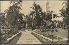 São Paulo - Jardim da Luz - Cartão Postal antigo original, nº 43, editor não mencionado, circulado.