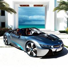 Nice rides: Beautiful BMW at the beach BMW i series fast cars car photos electric future electric cars Carlos Henriquez Luxury Sports Cars, Best Luxury Cars, Nice Sports Cars, Luxury Auto, Maserati, Lamborghini, Ferrari, Bmw I8, Audi I8