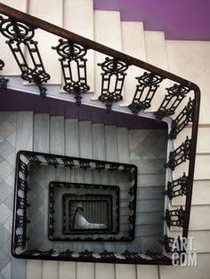 Staircase in Purple Nest Hostel Photographic Print by Krzysztof Dydynski at Art.com