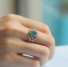 Synthetic Emerald stone ring celtic jewelry