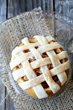 Apple Pie (baked in an apple!). Adorable #pie by Heather's French Press