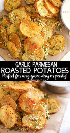 Parmesan Roasted Potatoes are just another one of my Easy Family Dinner Ideas that are simple to make. If you need easy side dishes this one is perfect. recipes for dinner Parmesan Roasted Potatoes Garlic Parmesan Roasted Potatoes, Rosemary Potatoes, Ranch Potatoes, Parmesan Pasta, Cheesy Potatoes, Parmesan Bratkartoffeln, Easy Family Dinners, Easy Family Dinner Recipes, Vegetarian Recipes