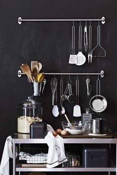 kitchens, tool organization, kitchen utensil, black walls, williams sonoma, open kitchen, kitchen accessori, kitchen walls, kitchen tools