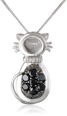 Sterling Silver Black and White Cubic Zirconia Cat Pendant Necklace 18 ** You can get more details by clicking on the image. (This is an affiliate link and I receive a commission for the sales) Ankle Bracelets, Charm Bracelets, Brooch Pin, Pocket Watch, Pendants, Pendant Necklace, Black And White, Sterling Silver, Diamond