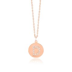 Made Simply Boutique's Round Necklace in Rose Gold, Letter D