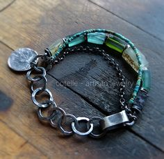 Green Ancient Glass Bracelet and Raw Sterling Silver , Artisan Jewelry , Boho Bracelet , Bohemian Bracelet by COTELLE on Etsy
