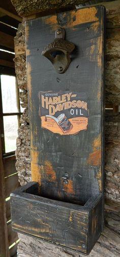 Man Cave Garage Wall Mounted Bottle Opener see more on eBay seller youjustneverknow11161230Harley Davidson Oil Label Distressed   eBay