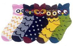 Sweet Owls Socks Set with Thick Eared Cuffs
