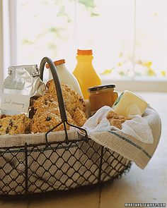 """DIY - """"Good Morning Basket"""" -  Line a basket with vintage tea towels and fill it with everything she needs to start the day off right -- coffee, tea, milk, sugar, orange juice, scones, butter, and marmalade."""