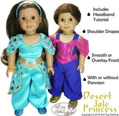 PDF Doll clothes sewing pattern desert tale princess genie Arabian costume designed to fit American Girl and other 18 inch dolls. Pattern by Doll Tag Clothing from Pixie Faire.