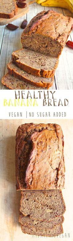 It's unbelievable that this delicious and moist banana bread is vegan and sweetened only with fruit. Click the photo for the full recipe and make some healthy vegan banana bread today!