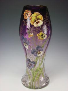 Antique Moser Bohemian Hand Painted Enamel Pansy Pansies Amethyst Glass Vase | eBay