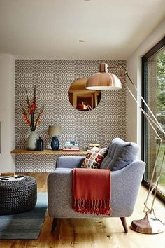 10 Superb Accent Chairs For Small Living Rooms accent chairs 10 Superb Accent Chairs For Small Living Rooms copper living room large floor lamp Copper Living Room, Home Living Room, Living Room Designs, Living Room Decor, Living Spaces, Small Living, Modern Living, Bedroom Decor, Bedroom Alcove