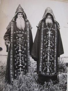 "Costume of your life and character. ""Great Schema monks of the Russian Orthodox Church, robed in full habit of the highest degree of Eastern monastic tradition. Orthodox Priest, Orthodox Christianity, Tableaux Vivants, Occult Art, Occult Books, Occult Symbols, Russian Orthodox, Mystique, Dark Art"