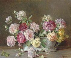 Licinio Barzanti - Roses in a jardinière on MutualArt.com