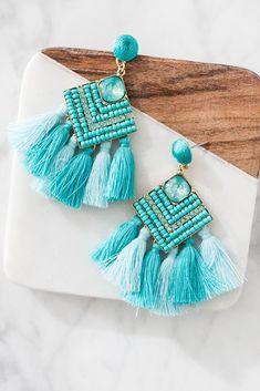 tassel earring Wedding Jewelry Howlite Turquoise Bead  Red Tassel Earrings Danglers Drop Earrings Tassel and Howlite Bead Earrings