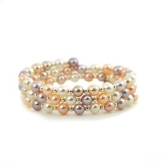 Honora Flexible Coil Bracelet With Fresh Water Pearls Rose, White, Pink Pearls