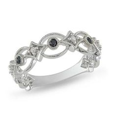 1/6 CT. T.W. Enhanced Black and White Diamond Band in Sterling Silver