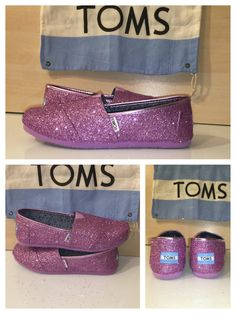 Women's TOMS sparkly lavender purple glitter handmade classic slip on shoes bride wedding tiny toms kids baby or women's by CrystalCleatss on Etsy