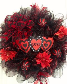 Valentine's red and black wreath by CreativeTwists1 on Etsy