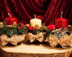 Candle Arrangements, Candle Centerpieces, Christmas Gift For You, Red Christmas, Red Candle Holders, Green Garland, Christmas Table Decorations, White Candles, Products