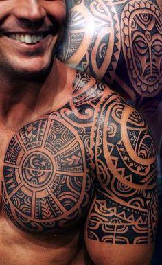 Tiki Shark Teeth Spear Head Polynesian Tattoo For Men