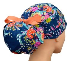 Womens Perfect Fit Ponytail Surgical Scrub Hat   Zinnias Surgical Tech, Surgical Caps, Scrub Hat Patterns, Large Women, Scrub Caps, Zinnias, Ultrasound, Cottages, Ponytail