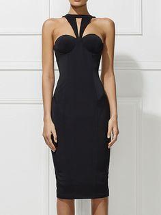 Black Halter Strappy Back Split Detail Bodycon Dress