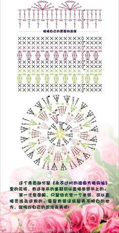 Flower With Long & Short Stitch, French Knot-Part 1 From Crochet Box, Crochet Pouch, Crochet Gratis, Crochet Chart, Crochet Motif, Crochet Stitches Patterns, Crochet Designs, Crochet Jar Covers, Stitch Box