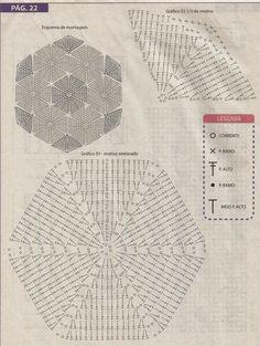 "Tapete bola de futebol em crochê com gráfico ~ ""Crochê da Mimi"" Crochet Quilt, Crochet Books, Crochet Squares, Crochet Home, Thread Crochet, Crochet Motif, Crochet Doilies, Crochet Stitches Chart, Crochet Diagram"