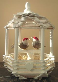 Popsicle Stick Mansion | Love Bird House (no instructions - just the ... | BIRDS Cages Nests B ...