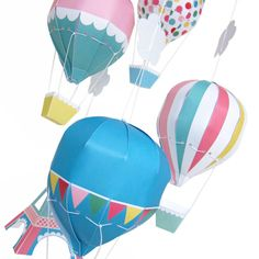 Paris Hot Air Balloon Mobile Printable Paper Craft PDF by FantasticToys on Etsy