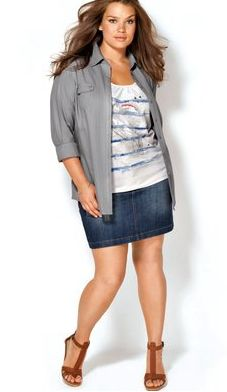 Jean skirt with a flirty striped top and neutral cover shirt