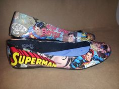 Made To Order Comic Book Superman Flats by custombykylee on Etsy, $50.00