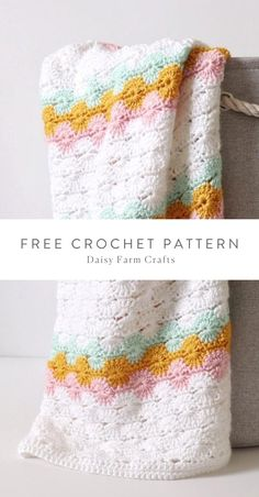 Free Crochet Pattern - Classic Crochet Catherine's Wheel Blanket by Daisy Farm Crafts. Master the classic Catherine's Wheel stitch with this easy pattern by Hannah of Daisy Farm Crafts. The Catherine's Wheel skill is best represented with fun color combinations. Try it out with the versatile yarn, Caron Simply Soft! Diy Crochet Afghan, Crochet Baby Blanket Free Pattern, Crochet Afgans, Crochet Bebe, Crochet Baby Hats, Knit Or Crochet, Double Crochet, Crochet Stitches, Free Crochet