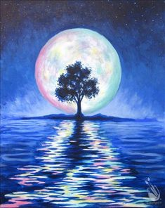 Huge moon with tree and rippling reflections on the water. Beginner painting ide… Huge moon with tree and rippling reflections on the water. Beginner painting idea from painting with a twist. Back Painting, Moon Painting, Painting & Drawing, Easy Paintings, Landscape Paintings, Pinturas Em Tom Pastel, Aesthetic Painting, Beginner Painting, Painting Inspiration